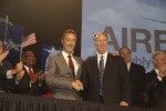 Airbus President & CEO Fabrice Brégier (at left) and Alabama Governor Robert Bentley pose for international journalists during the 2 July 2012 event announcing the new A320 Family jetliner production facility in Mobile, Alabama. (Photo by Airbus)