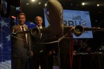 Airbus President &amp; CEO Fabrice Brgier (at left) is joined by Alabama Governor Robert Bentley amidst confetti and streamers after announcing the decision to create an A320 Family final assembly line at Mobiles Brookley Aeroplex. (Photo by Airbus)