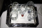 First Class wine tasting tray on new 777-300ER. (Photo by Tad Carlson)