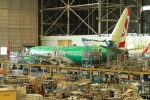 An Air Berlin 737 nears the end of the assembly line. (Photo by Matt Molnar)