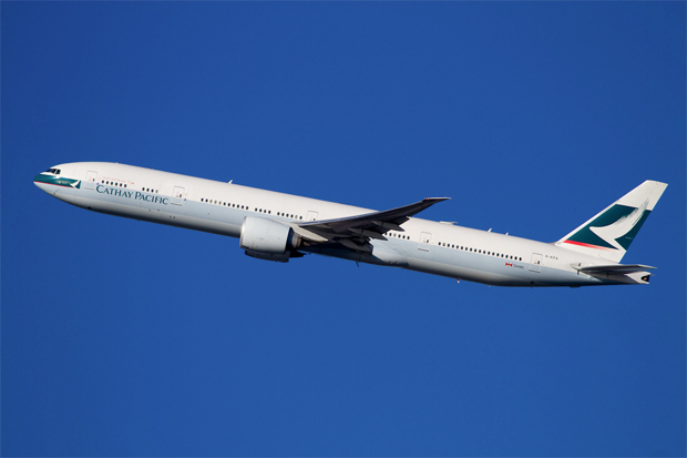 A Boeing 777-300ER (B-KPA) ascends from New York (JFK)