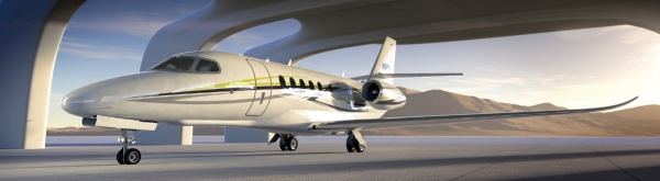 Cessna Citation Latitude in a hangar. (Rendering by Cessna)