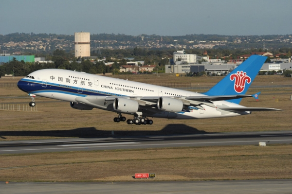 China Southern\'s first A380 takes off from Toulouse for Beijing.