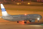 Continental's 75th anniversary retro jet, a 737-900ER (N75436) prepares to depart Houston.