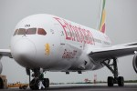 The first Ethiopian 787 Dreamliner is pulled into its parking spot prior to a VIP sightseeing flight to Mount Kilimanjaro. Note the plane's new titles. (Photo by Jeremy Dwyer-Lindgren)