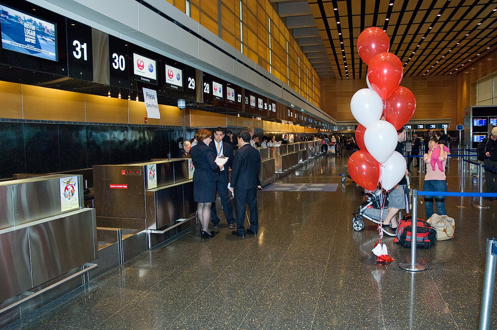 The new Japan Airlines check in desks at Boston Logan\'s Terminal E. (Photo by Bill Vogt/NYCAviation)