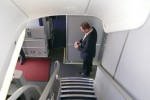 Lufthansa Boeing 747-8I stairs to upper deck business class cabin. (Photo by Chris Sloan/Airchive.com)