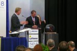Lufthansa CEO Dr. Christoph Franz and Boeing VP Pat Shanahan at the ceremonial signing of the delivery paperwork. (Photo by Chris Sloan/Airchive.com)