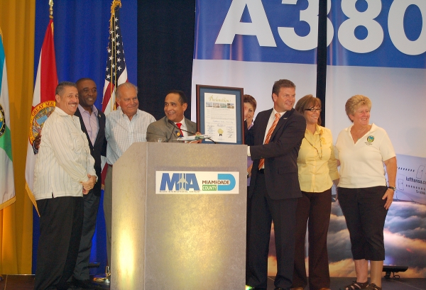 Country Commission Chairman Joe Martinez read and presented Bischof with a Miami-Dade County Proclamation declaring June 10th Lufthansa A380 Day. (Photo by Mark Lawrence)