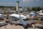 A Wisconsin ANG KC-135 is seen from atop the C-5 Galaxy at Oshkosh Airventure 2012.
