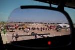 Airshow attendees are seen through the heads-up-display of the Southwest 737-700.