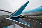 Full size model of the new winglet designed for the Boeing 737 MAX. (Photo by Boeing)