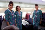 Business class cabin crew of Malaysia Airlines Airbus A380. (Photo by Airbus)