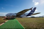 Green carpet leads to the Airbus A380. (Photo by Airbus)