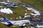 Aircraft static display seen from the air. (Photo by Farnborough International)