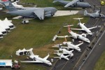 Farnborough International Airshow static display as seen from the sky. (Photo by Farnborough International)