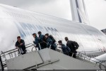 A group of young people board the A380. (Photo by Airbus)