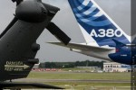 Tail rotor of a Eurocopter and the tail of the Airbus A380 demonstrator aircraft. (Photo by Airbus)