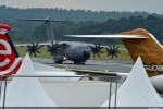 The A400M taxis to join other aircraft on static display at the Farnborough Airshow after its Sunday, July 8th arrival. (Photo by Airbus)