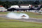 Saab Gripen takes off. (Photo by Farnborough International)
