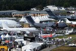 Dozens of planes on display at Farnborough. (Photo by Farnborough International)