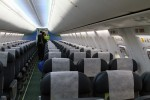 Economy class features 138 Teague leather seats with 31 inches pitch and communal Panasonic IFE.