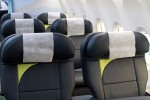 Business class features 16 Teague leather seats featuring 51 inches of pitch and personal IFE provided by Panasonic.