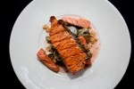 Salmon filet on a plate. (Photo by Jeremy Dwyer-Lindgren/NYCAviation)