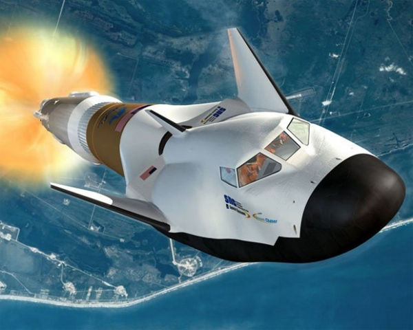 The Dream Chaser space plane atop a United Launch Alliance Atlas V rocket. (Rendering by SNC)