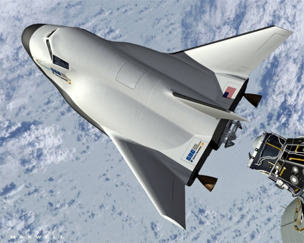 If all goes according to plan, the Dream Chaser could be one of many \'space-taxis\' that would supply transportation services to the International Space Station. (Rendering by SNC)