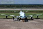 Space shuttle carrier aircraft N905NA awaits her last major passenger of the shuttle program. This aircraft began her operational life as an American Airlines passenger aircraft before receiving special modification to become the world's first space shuttle carrier aircraft. She will be used as a training aircraft for NASA's SOFIA program and eventually as a parts donor for the NASA's opreational 747SP aircraft. (Photo by Suresh Atapattu)