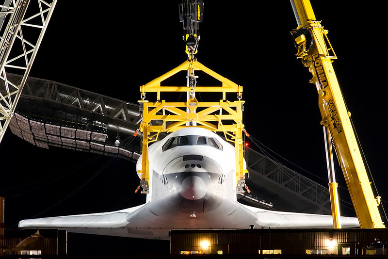 Head-on full view of Space Shuttle Enterprise being raised. (Photo by Mark Szemberski)