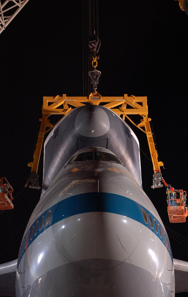 Noses of Space Shuttle Enterprise and the Shuttle Carrier Aircraft. (Photo by Guy Dickinson, CC BY-SA)