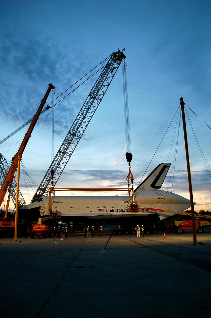 Space Shuttle Enterprise at dawn. (Photo by Guy Dickinson, CC BY-SA)