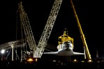 Head-on view of the Space Shuttle Enterprise being raised. (Photo by Eric Dunetz)