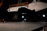 Space Shuttle Enterprise floats in midair after being demated from the Shuttle Carrier Aircraft. (Photo by Guy Dickinson, CC BY-SA)