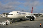 Turkish Airlines first flight gets towed to the gate at LAX. (Photo by Stephen Shrank/NYCAviation)