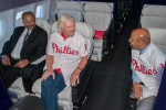 Sir Richard Branson, Mayor Michael A. Nutter and Congressman Chaka Fattah chat in first class on the ground. (Photo by Manny Gonzalez/NYCAviation)