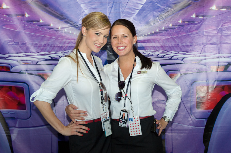 Virgin America crew members from Flight 10 pose in Philadelphia. (Photo by Manny Gonzalez/NYCAviation)