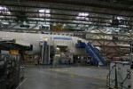 United Airlines first 787, seen from the factory floor. (Photo by Brandon Farris)