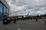 ZA002, the second 787 test aircraft, and Boeing employees. (Photo by Brandon Farris)