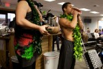 Performing some traditional Hawaiian music.