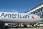 AA's new 777-300ER sittin' at the gate. (Photo by Tad Carlson)
