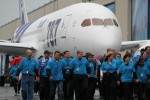 Boeing employees escort the first commercial 787. (Photo by Brandon Farris)