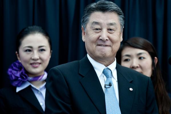 ANA senior executive vice president Mitsuo Morimoto following a speech.
