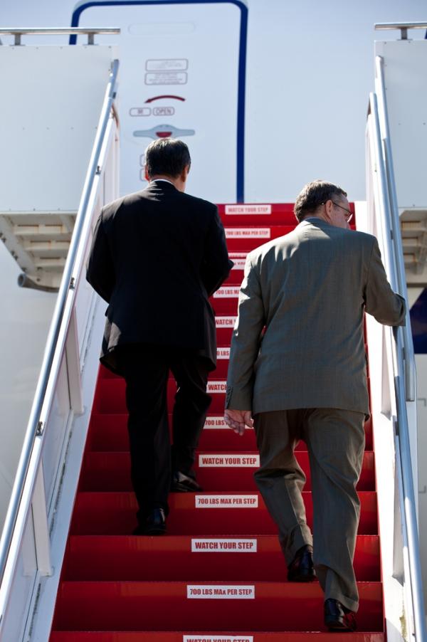 ANA's Mitsuo Morimoto and Boeing's Scott Francher prepare to board the plane.