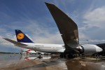 A new Lufthansa 747-8i at IAD. (Photo by Gordon Gebert Jr.)