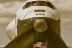 Beautiful sepia edit on this vertical Space Shuttle Enterprise image. (Phtoo by Eric Dunetz)
