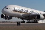 Singapore A380 touching down at JFK. (Photo By Eric Dunetz)