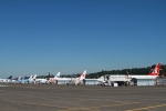 The flight line at Boeing Field. How many different airlines can you count? (Photo by Matt Molnar)